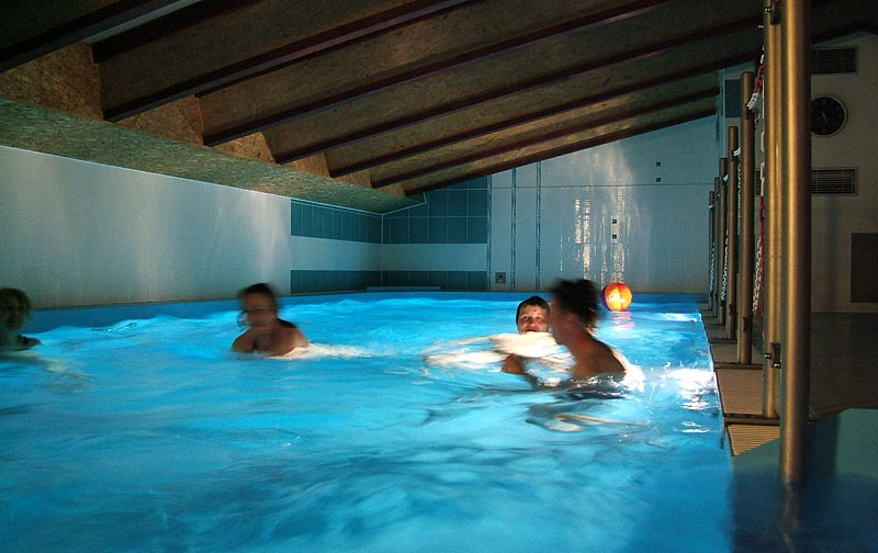 Indoor pool with night lighting