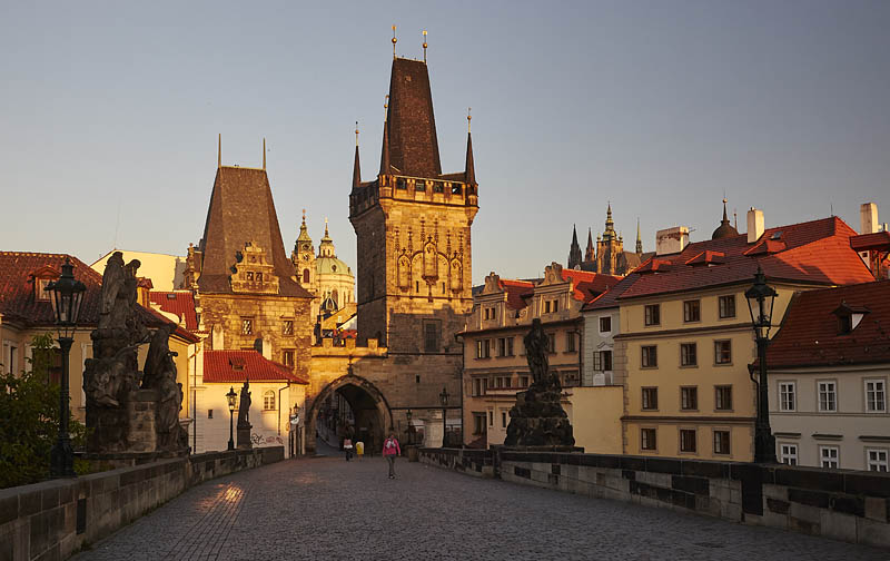 Sunrise over the Charles Bridge in Prague